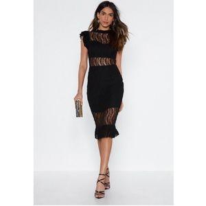 Lace cut out midi dress